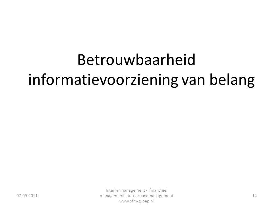Betrouwbaarheid informatievoorziening van belang