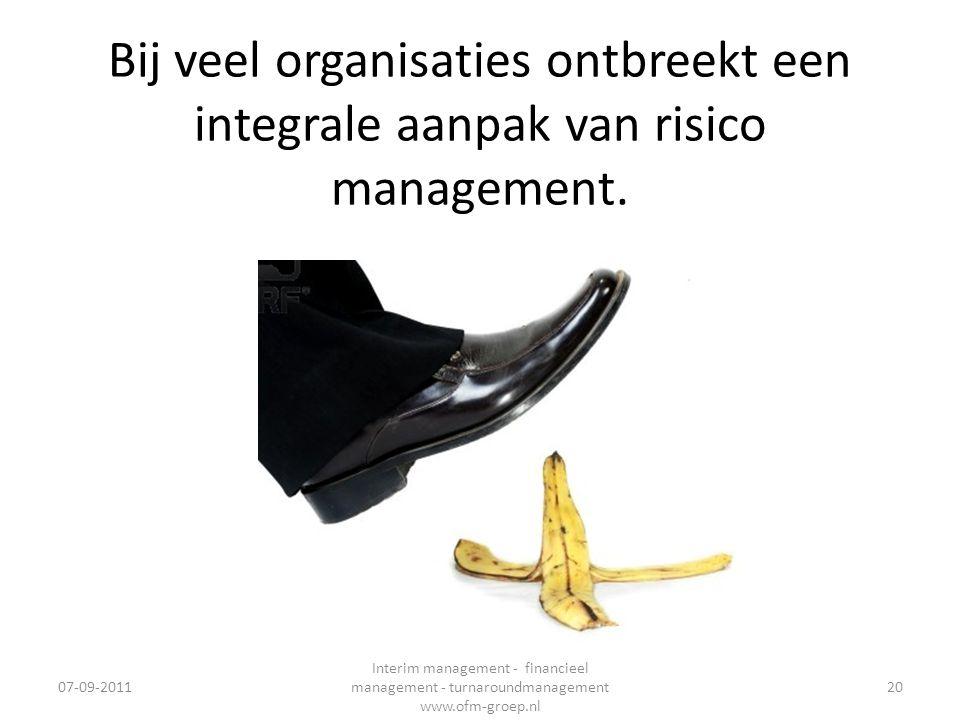 14-2-2008 Bij veel organisaties ontbreekt een integrale aanpak van risico management. 07-09-2011.
