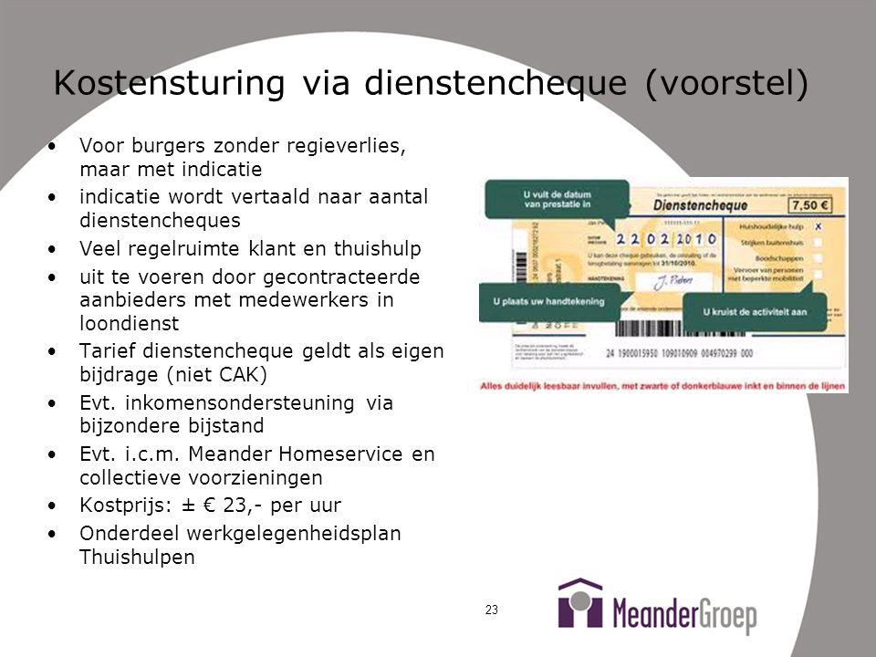 Kostensturing via dienstencheque (voorstel)