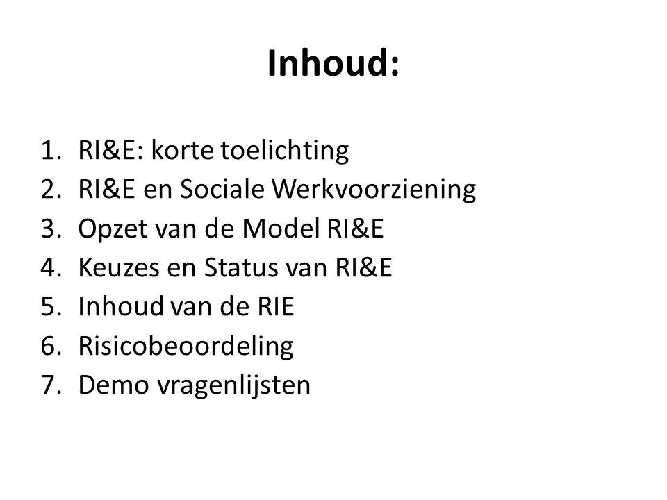 Inhoud: RI&E: korte toelichting RI&E en Sociale Werkvoorziening