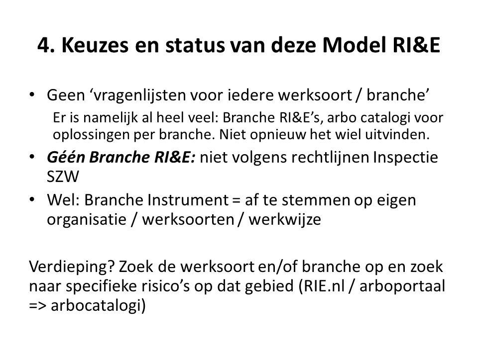 4. Keuzes en status van deze Model RI&E