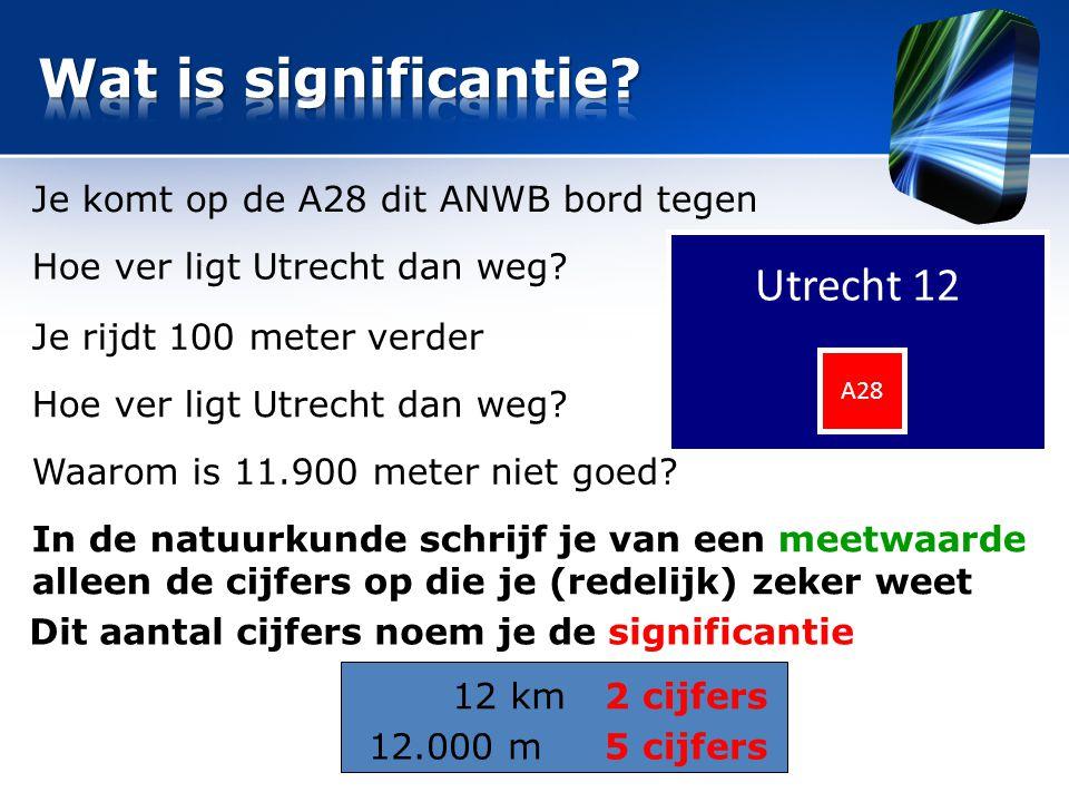 Wat is significantie Utrecht 12 Je komt op de A28 dit ANWB bord tegen