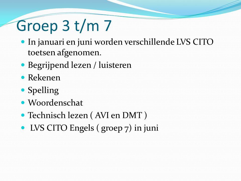 Groep 3 t/m 7 In januari en juni worden verschillende LVS CITO toetsen afgenomen. Begrijpend lezen / luisteren.