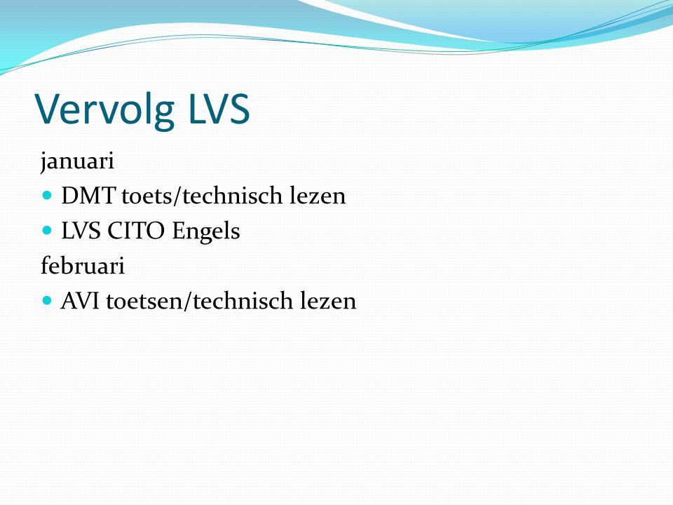 Vervolg LVS januari DMT toets/technisch lezen LVS CITO Engels februari