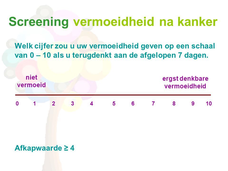 Screening vermoeidheid na kanker