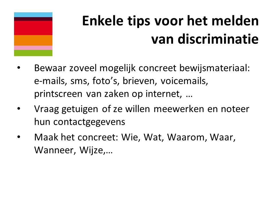 Enkele tips voor het melden van discriminatie