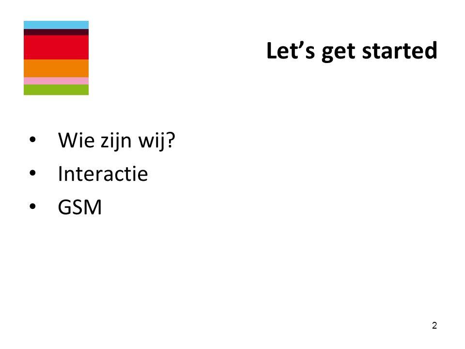 Let's get started Wie zijn wij Interactie GSM