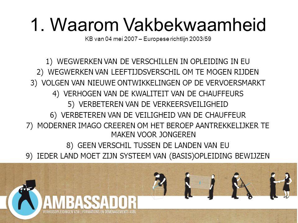1. Waarom Vakbekwaamheid KB van 04 mei 2007 – Europese richtlijn 2003/59