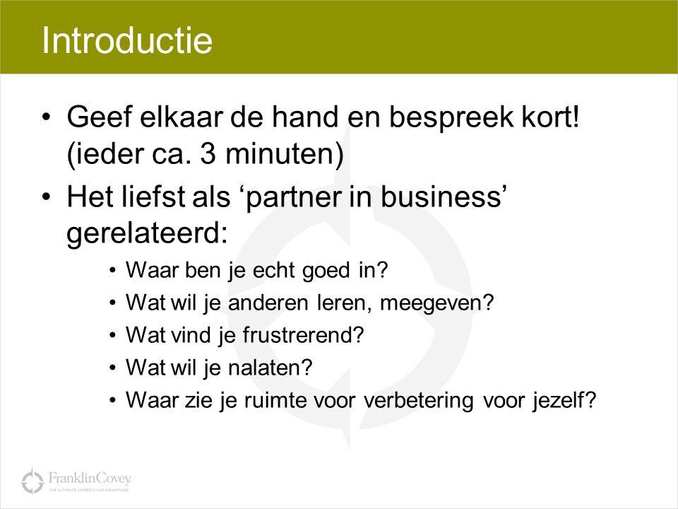 Introductie Geef elkaar de hand en bespreek kort! (ieder ca. 3 minuten) Het liefst als 'partner in business' gerelateerd: