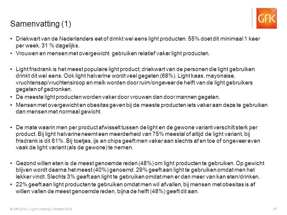 Samenvatting (1) Driekwart van de Nederlanders eet of drinkt wel eens light producten. 55% doet dit minimaal 1 keer per week. 31 % dagelijks.
