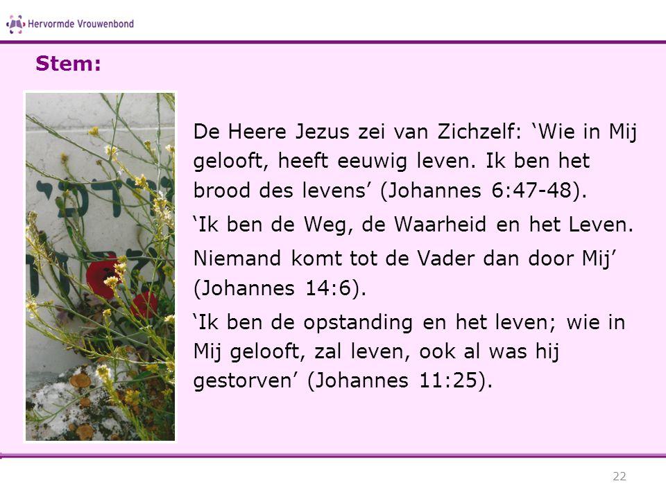 Stem: De Heere Jezus zei van Zichzelf: 'Wie in Mij gelooft, heeft eeuwig leven. Ik ben het brood des levens' (Johannes 6:47-48).