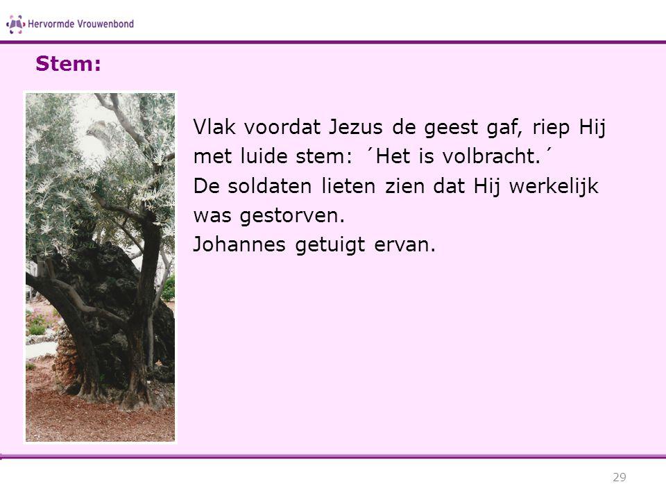 Stem: Vlak voordat Jezus de geest gaf, riep Hij met luide stem: ´Het is volbracht.´ De soldaten lieten zien dat Hij werkelijk.