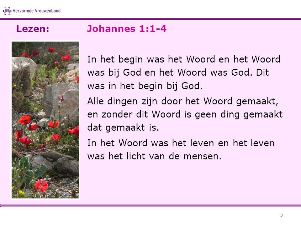 Lezen: Johannes 1:1-4. In het begin was het Woord en het Woord was bij God en het Woord was God. Dit was in het begin bij God.