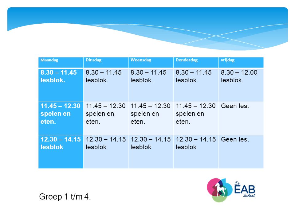 Groep 1 t/m 4. 8.30 – 11.45 lesblok. 8.30 – 12.00 lesblok.