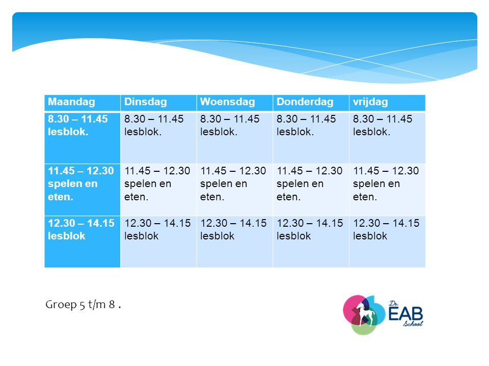 Groep 5 t/m 8 . Maandag Dinsdag Woensdag Donderdag vrijdag