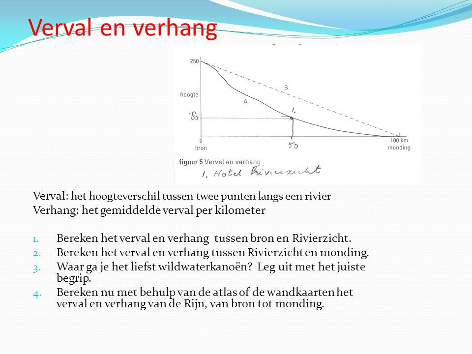 Verval en verhang Verval: het hoogteverschil tussen twee punten langs een rivier. Verhang: het gemiddelde verval per kilometer.