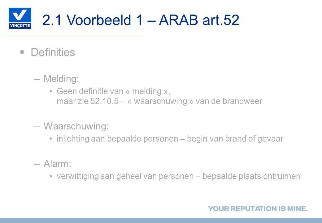 2.1 Voorbeeld 1 – ARAB art.52 Definities Melding: Waarschuwing: Alarm: