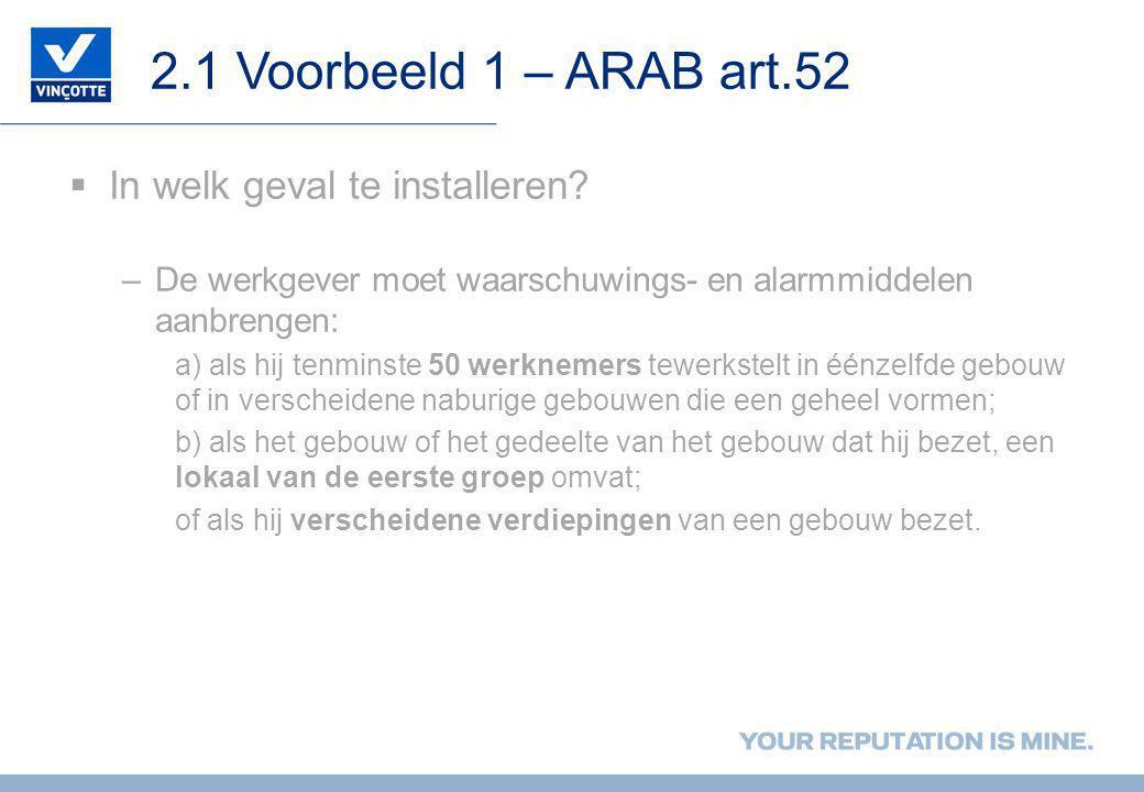 2.1 Voorbeeld 1 – ARAB art.52 In welk geval te installeren