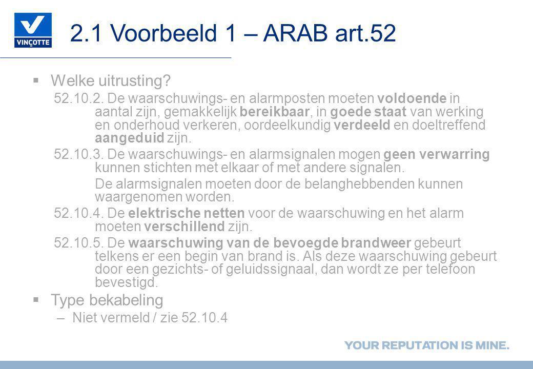 2.1 Voorbeeld 1 – ARAB art.52 Welke uitrusting Type bekabeling