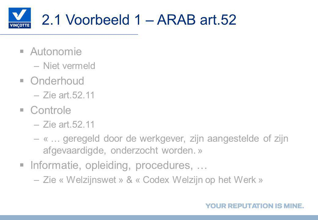 2.1 Voorbeeld 1 – ARAB art.52 Autonomie Onderhoud Controle