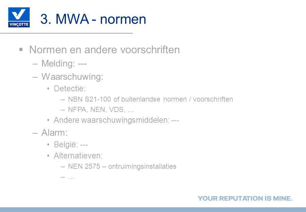3. MWA - normen Normen en andere voorschriften Melding: ---