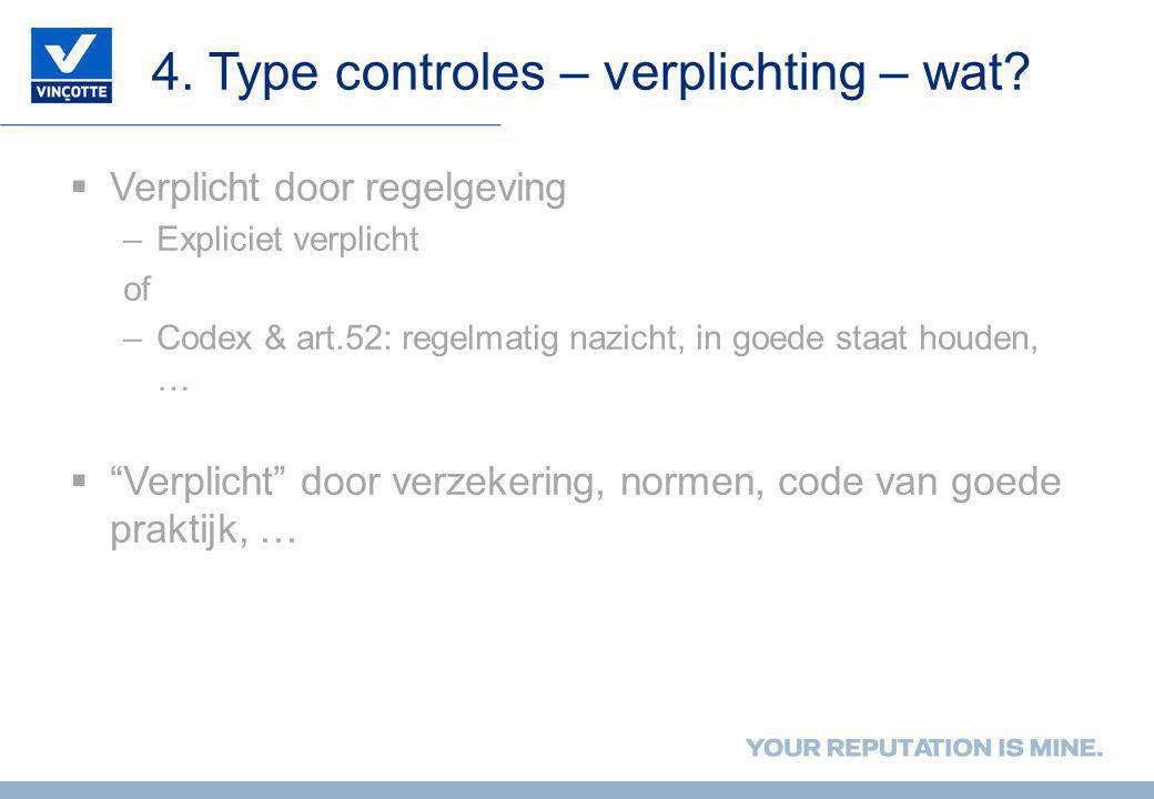 4. Type controles – verplichting – wat