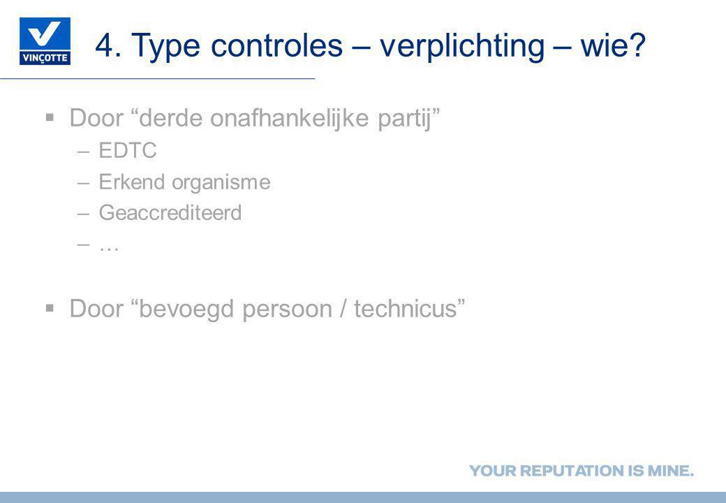 4. Type controles – verplichting – wie