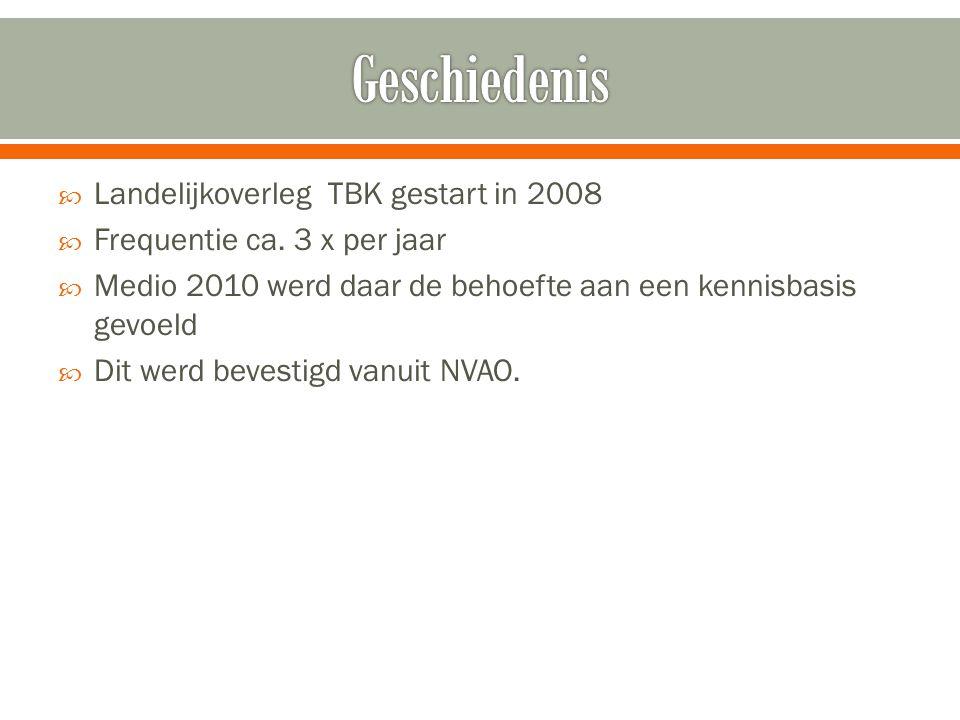 Geschiedenis Landelijkoverleg TBK gestart in 2008