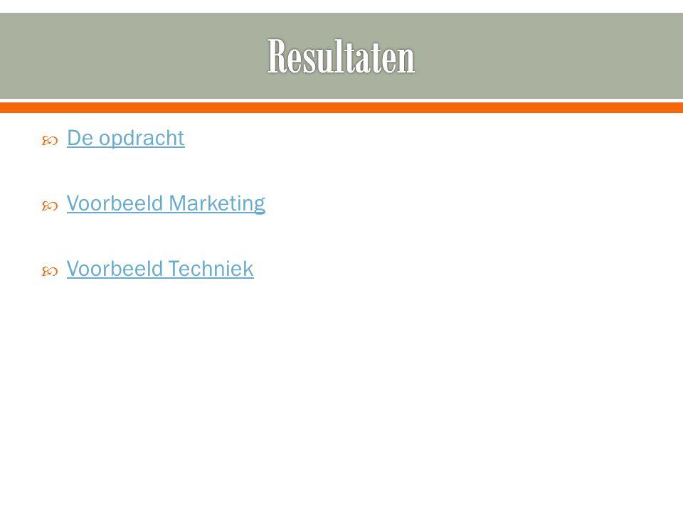 Resultaten De opdracht Voorbeeld Marketing Voorbeeld Techniek