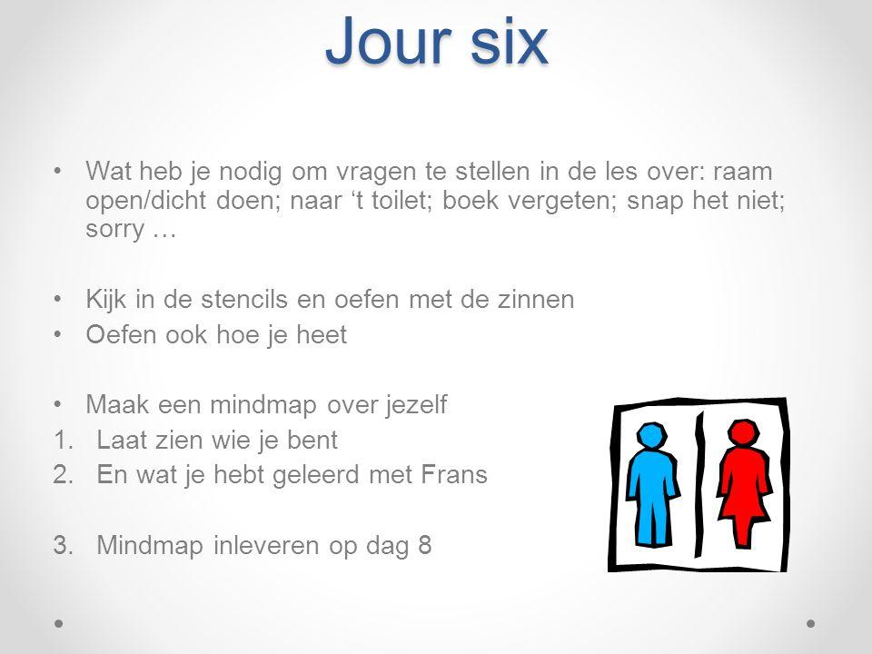 Jour six Wat heb je nodig om vragen te stellen in de les over: raam open/dicht doen; naar 't toilet; boek vergeten; snap het niet; sorry …