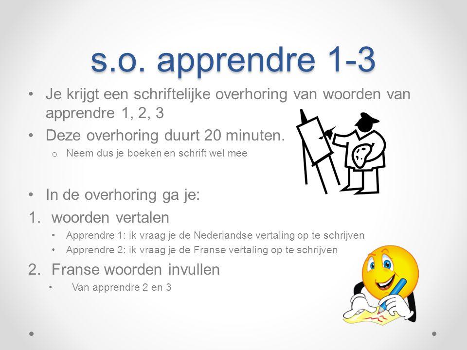 s.o. apprendre 1-3 Je krijgt een schriftelijke overhoring van woorden van apprendre 1, 2, 3. Deze overhoring duurt 20 minuten.