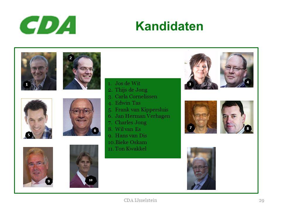 Kandidaten Jos de Wit Thijs de Jong Carla Cornelissen Edwin Tas