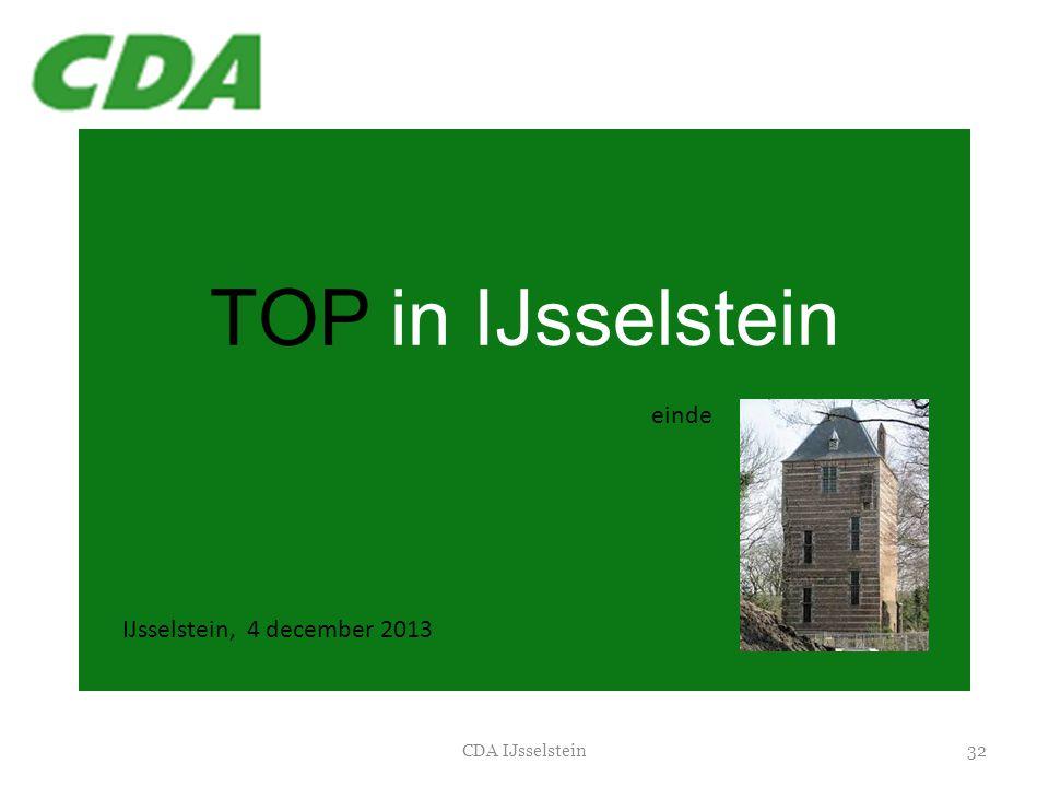 TOP in IJsselstein einde IJsselstein, 4 december 2013 CDA IJsselstein