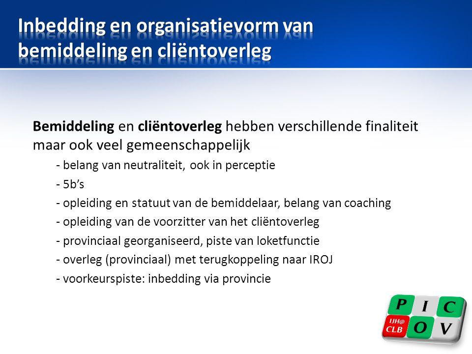 Inbedding en organisatievorm van bemiddeling en cliëntoverleg