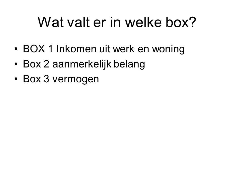 Wat valt er in welke box BOX 1 Inkomen uit werk en woning