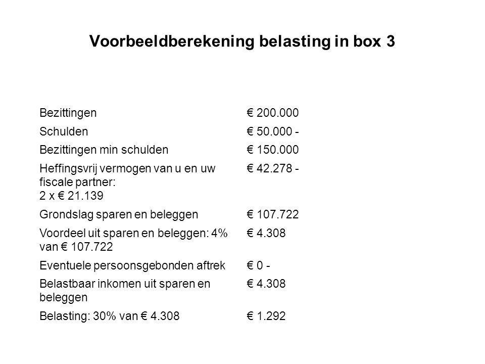 Voorbeeldberekening belasting in box 3