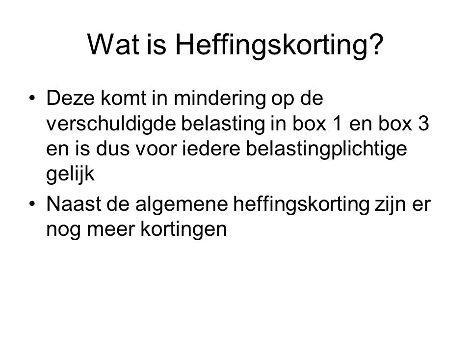 Wat is Heffingskorting