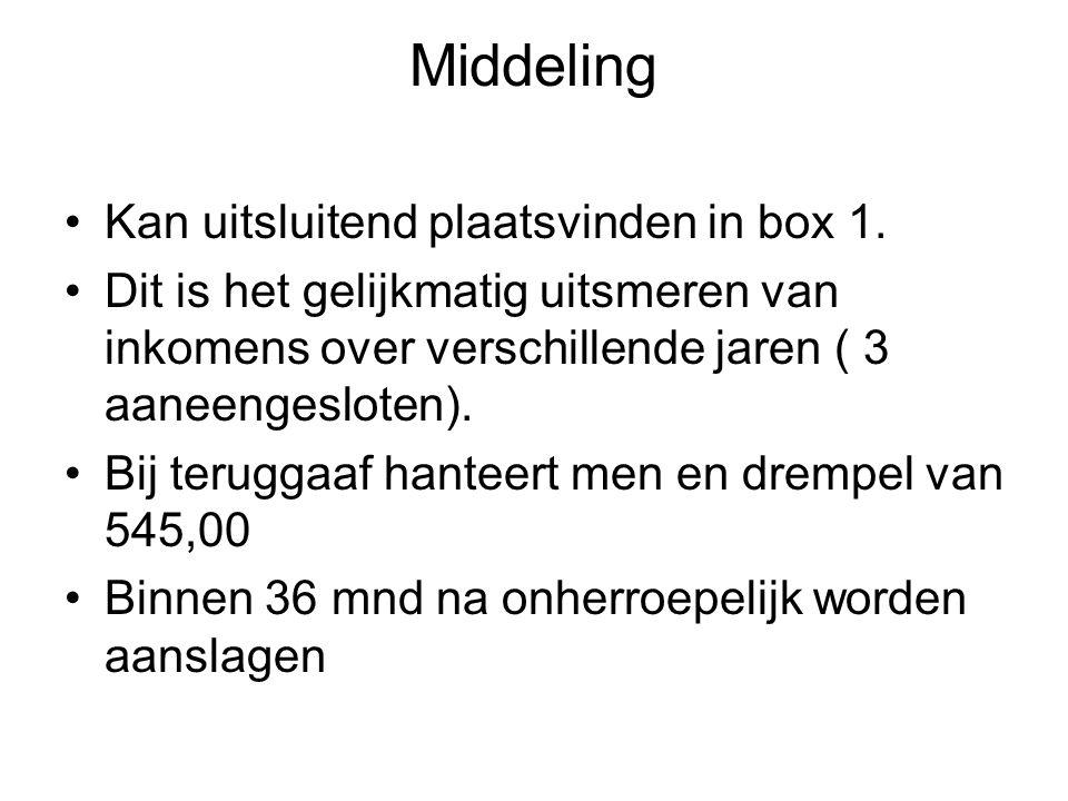 Middeling Kan uitsluitend plaatsvinden in box 1.