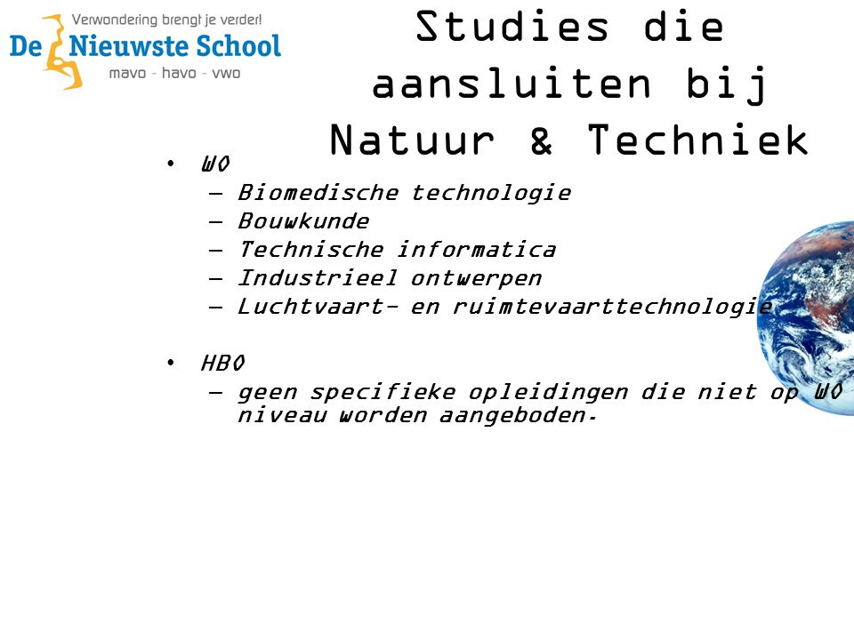 Studies die aansluiten bij Natuur & Techniek