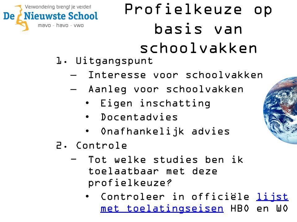 Profielkeuze op basis van schoolvakken