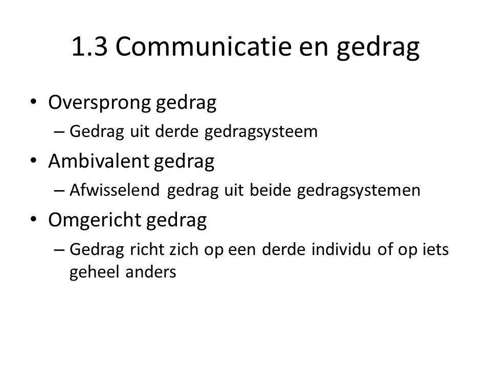 1.3 Communicatie en gedrag