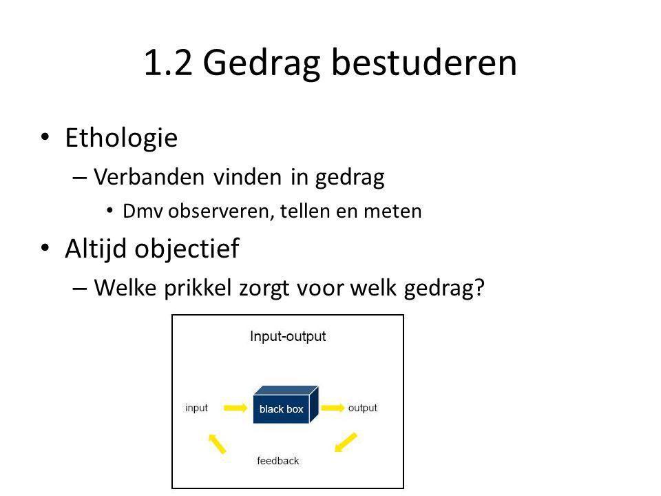 1.2 Gedrag bestuderen Ethologie Altijd objectief
