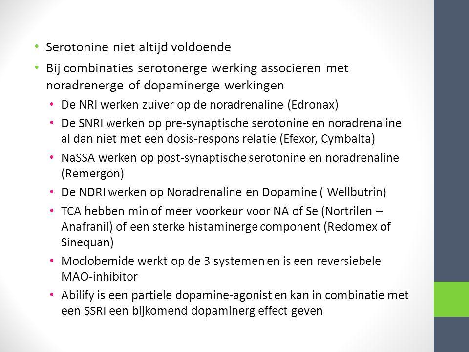 Serotonine niet altijd voldoende