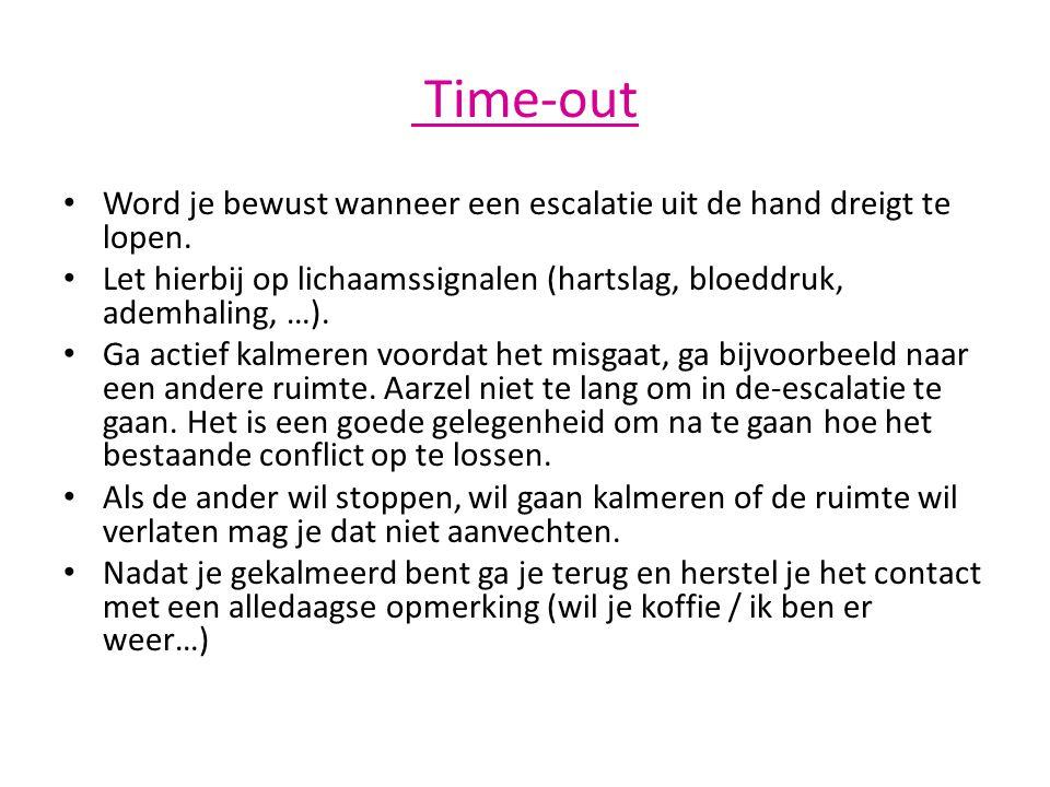 Time-out Word je bewust wanneer een escalatie uit de hand dreigt te lopen. Let hierbij op lichaamssignalen (hartslag, bloeddruk, ademhaling, …).