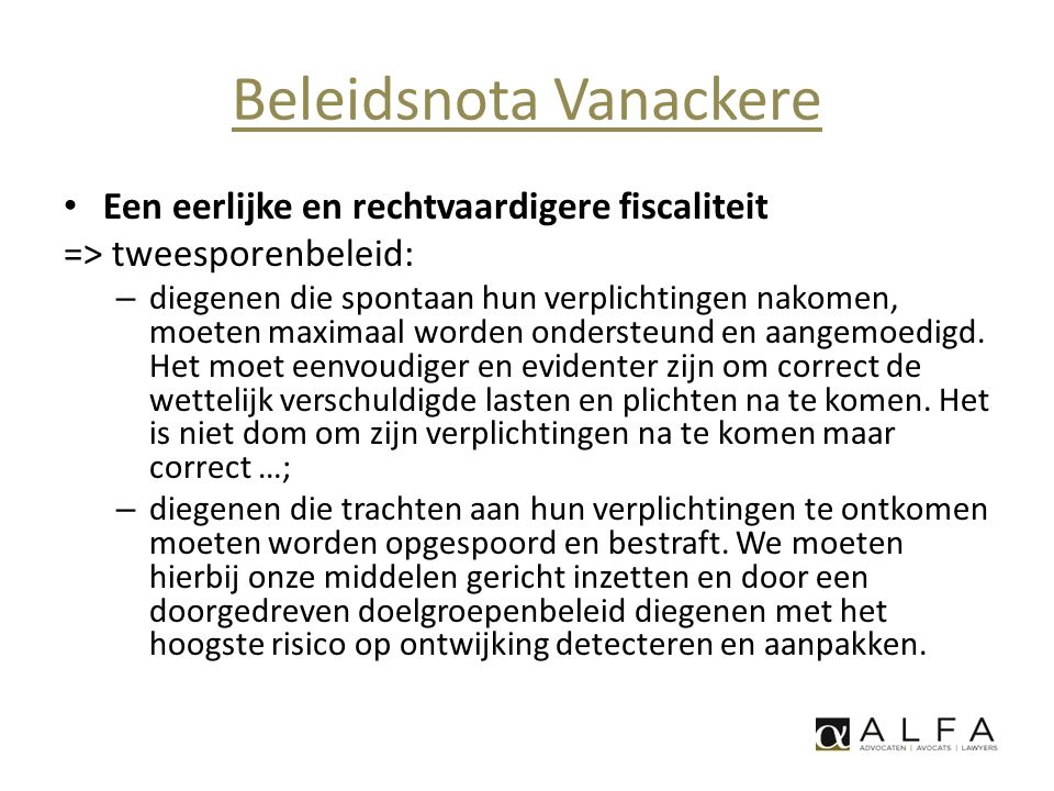 Beleidsnota Vanackere