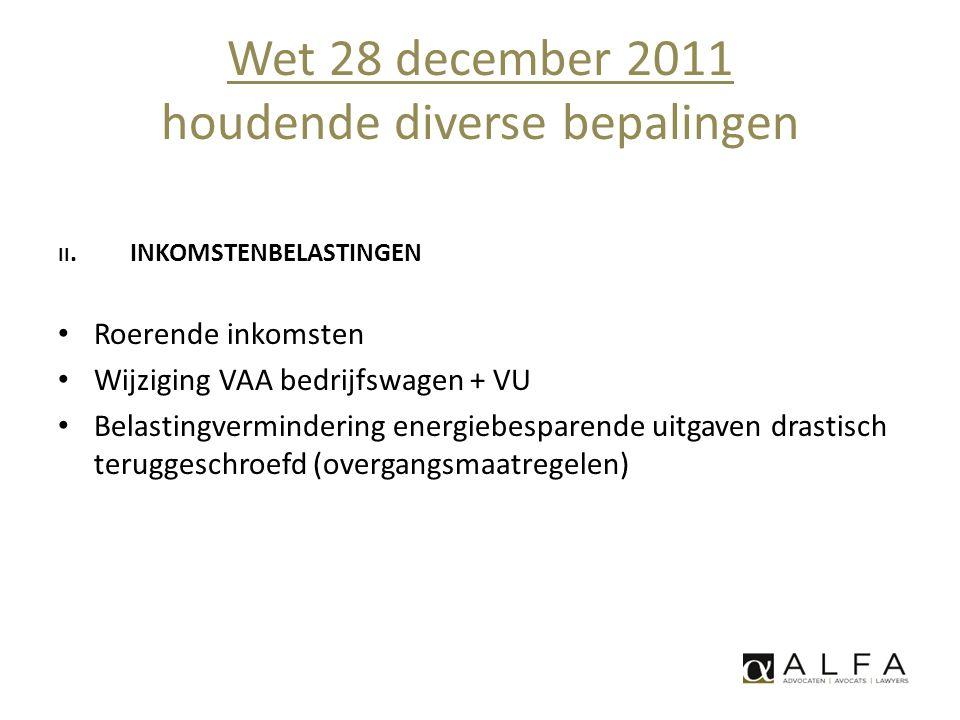 Wet 28 december 2011 houdende diverse bepalingen