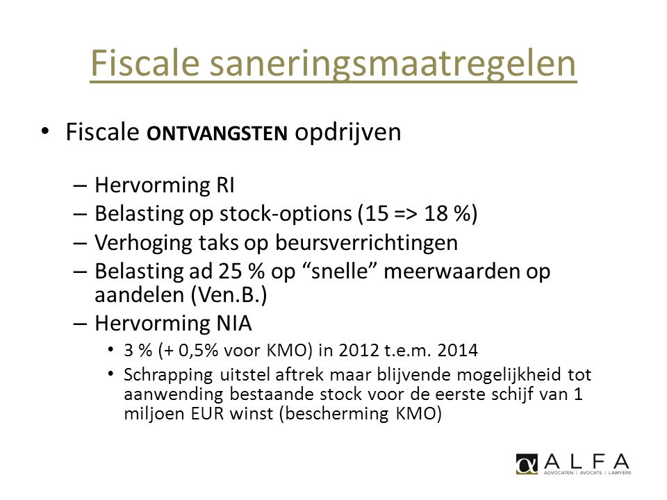 Fiscale saneringsmaatregelen
