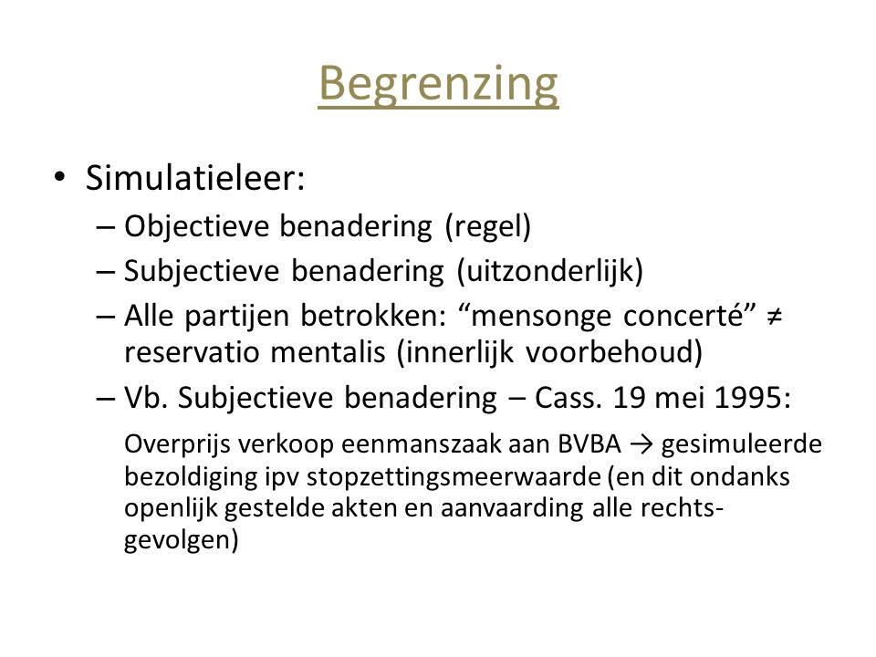 Begrenzing Simulatieleer: Objectieve benadering (regel)