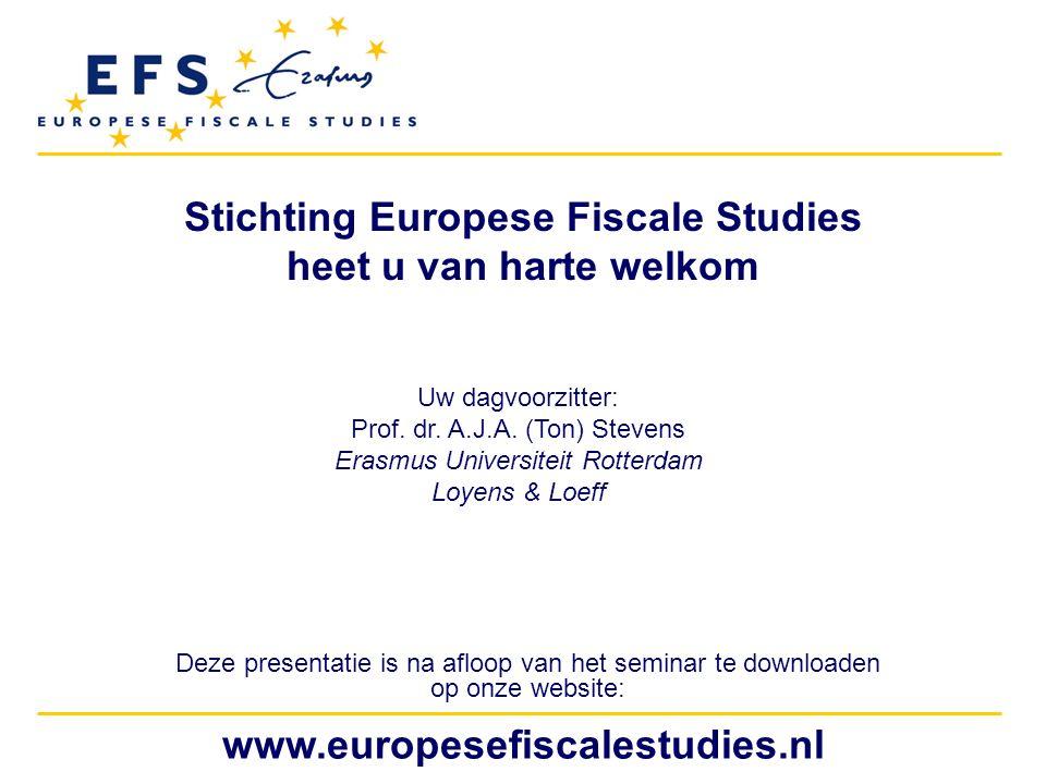 Stichting Europese Fiscale Studies heet u van harte welkom