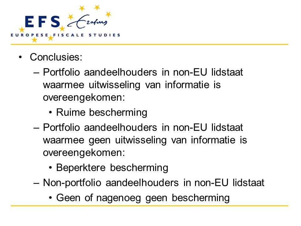 Conclusies: Portfolio aandeelhouders in non-EU lidstaat waarmee uitwisseling van informatie is overeengekomen: